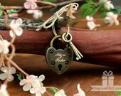 Personalized Custom Engraved Antique Mini Love Lock - Engraved Padlock, Wedding, Gift, Anniversary, Proposal
