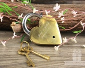 Engraved Polished Solid Brass Golden Heart Love Lock with Victorian Keys