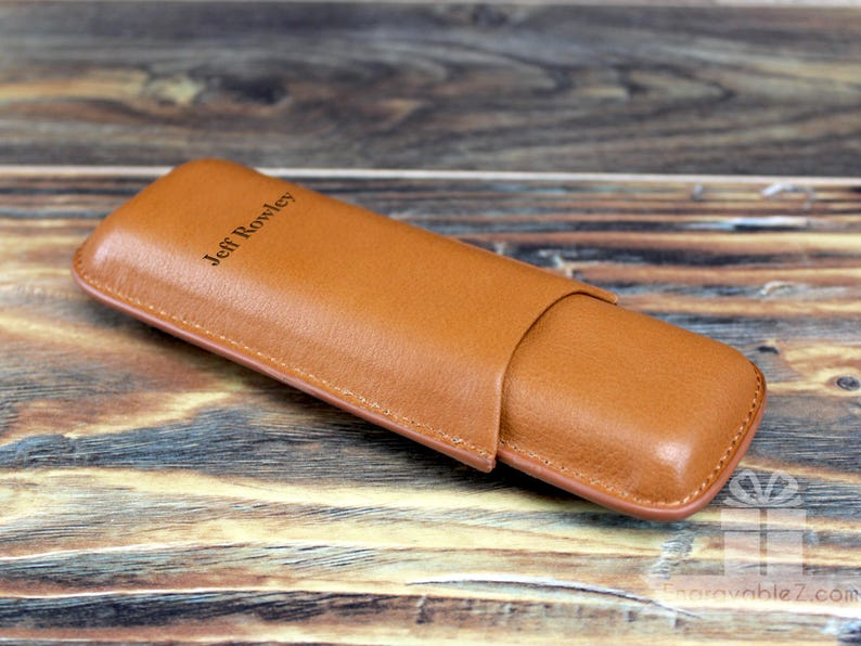 Holds 2 Cigars Custom Engraved Leather Cigar Carrying Case