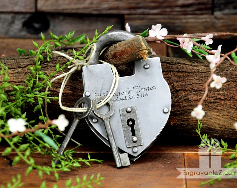 Personalized Custom Hand-Forged Love Lock Silver  Engraved image 1