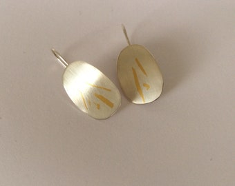 Sterling silver and 24 carat gold Keum Boo earrings