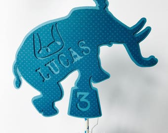 Circus Party Cake Topper, Elephant Cake Topper, Personalized Cake Topper, Blue Carnival Party