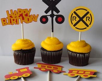 Train Cupcake Toppers, Set of 6,  Birthday Cupcake toppers, Choo Choo Birthday cupcake toppers, red and yellow cupcake decorations,