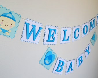 Welcome Baby Banner, Baby Shower Banner, Blue and White Baby Banner