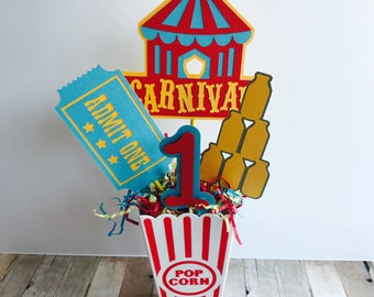 Carnival Birthday Party Centerpiece, Circus Birthday Centerpiece, Age Carnival Centerpiece, Red and Yellow Centerpiece