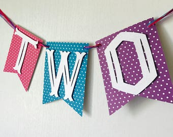 Pink, Purple and Teal Highchair Banner, First Birthday Banner, I am ONE, Polka-dot Highchair Banner
