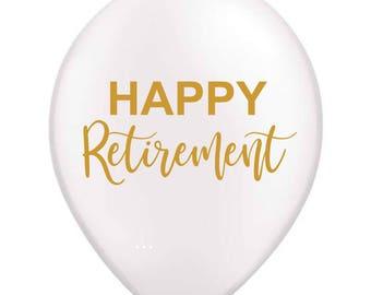 Happy Retirement Balloon, Retirement Decoration, Retirement Ballloon, Retirement Party Decoration, White, Latex, Retirement Decor