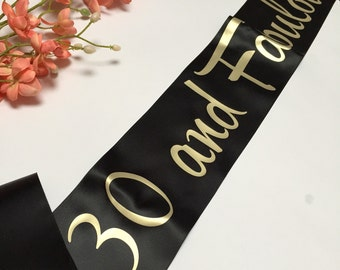 30 And Fabulous Party Sash 30th Birthday Girls Night Gold