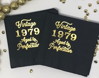40th Birthday Napkins Decorations Decor Cocktail Vintage 1979 40 Gold Forty