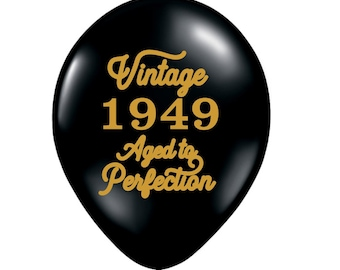 70th Birthday Balloon Decoration 70 Black Gold Vintage 1949 Favor