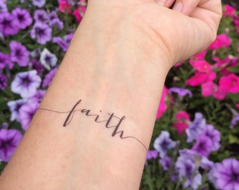 7767c0d30 Faith Tattoo, Arm Tattoo, Temporary Tattoo, Fake Tattoo, Birthday Gift,  Inspirational Tattoo, Faith, Religious Tattoo, Set of 2
