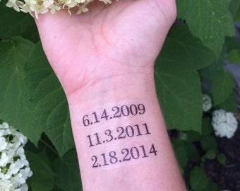 Mom Tattoo, Temporary Tattoo, Fake Tattoo, Mother's Day Gift, Mothers Day Gift, Mom Gift, Birthday Tattoo, Date Tattoo, Personalized, Dates