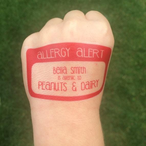 Alergia Tatuaż Alert Tatuaż Alergia Id Bezpieczeństwa Przystanek Zapytać O Moje Alergie Alergia Orzech Alergia Orzeszków Ziemnych Nagły