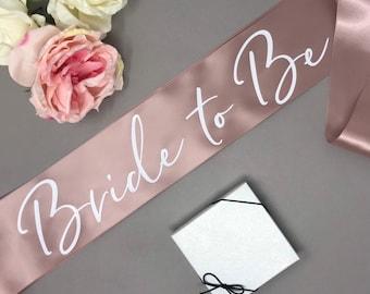 Bride to Be Sash, Bachelorette Sash, Bridesmaid Gift, Bachelorette Party, Blush, Rose Gold, Bride Sash, Bachelorette Party Sash, White