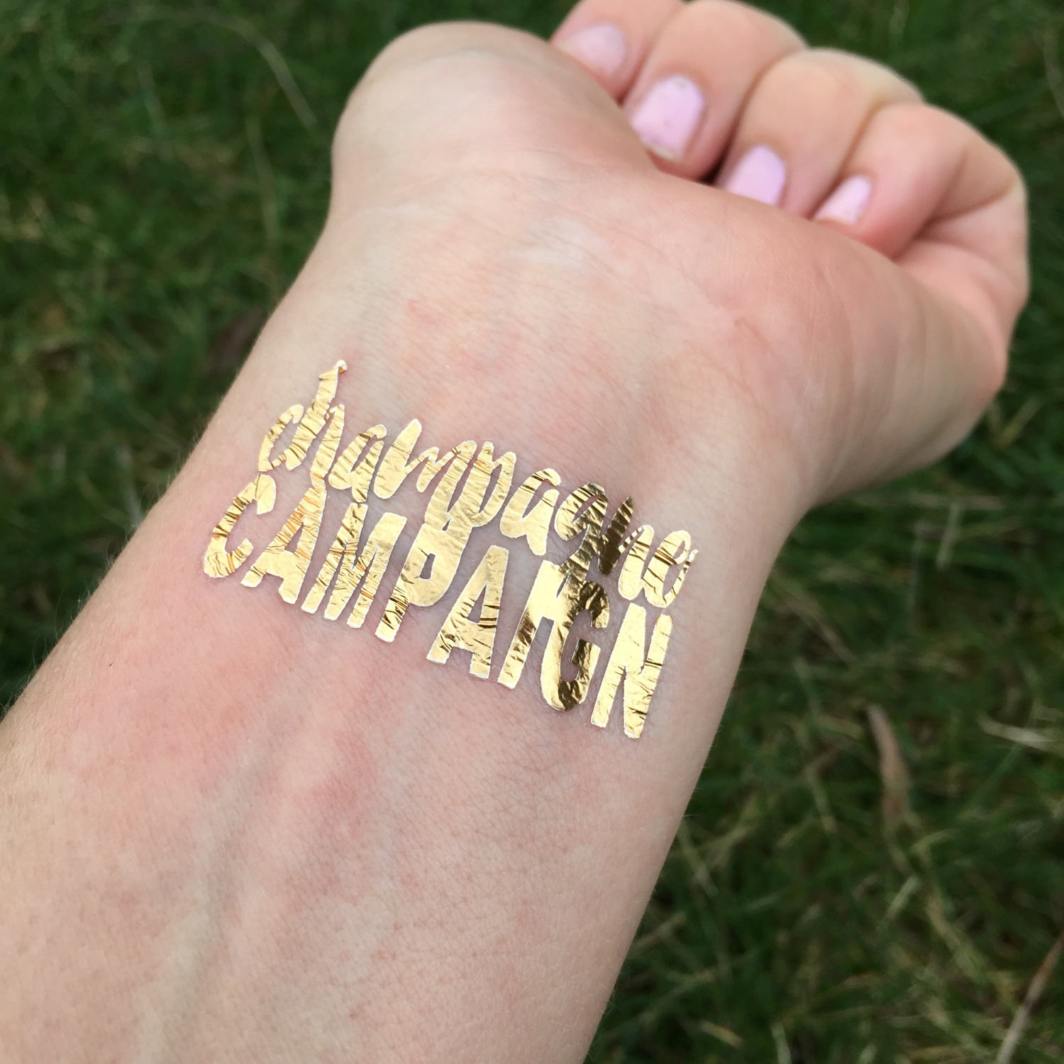 Champagne Campaign Gold FoilTattoos Temporary Tattoo | Etsy