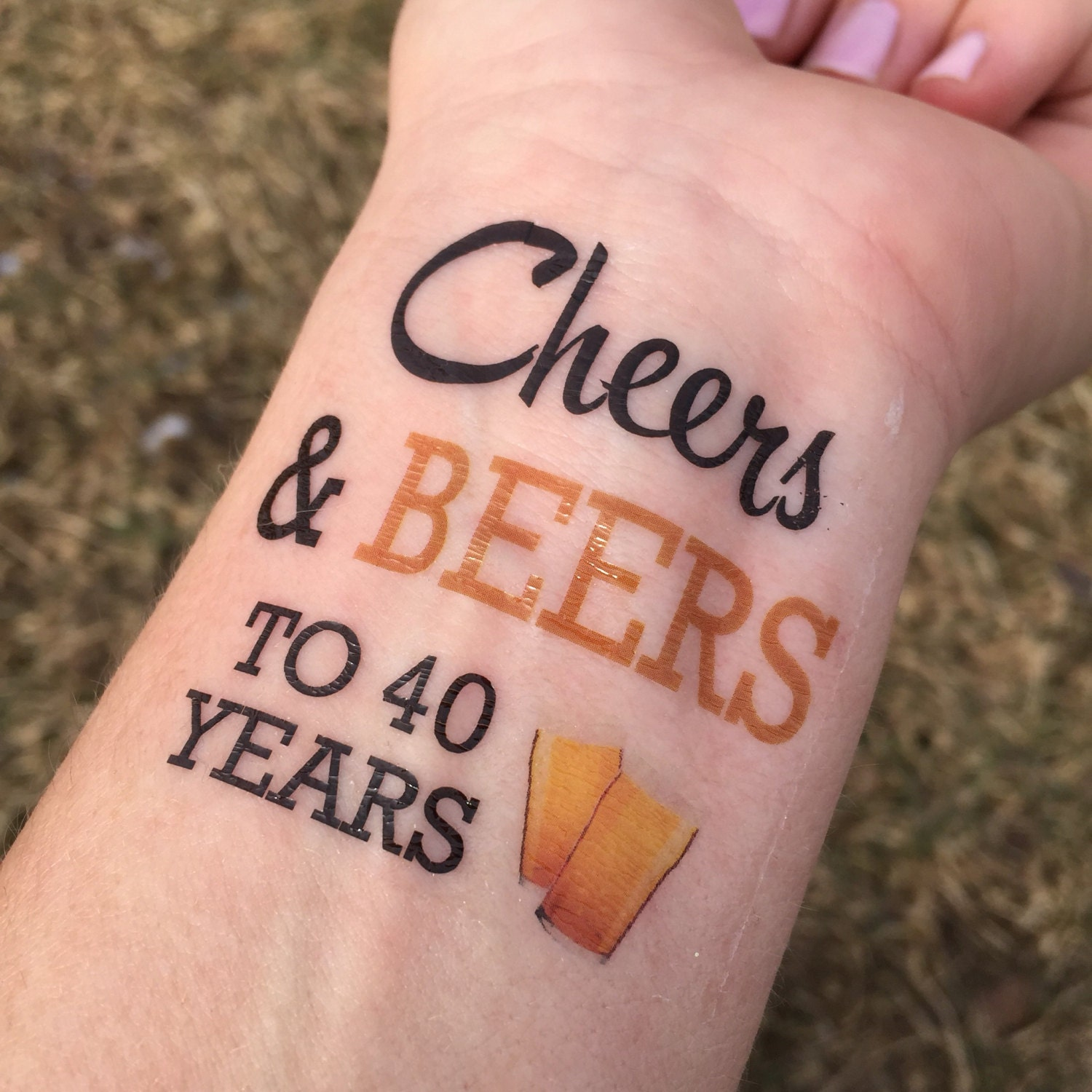 Cheers and Beers to 40 Years 40th Birthday Tattoos Temporary | Etsy