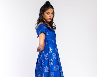Blue Woodin Ankara African Print Dress