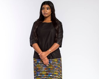 Black & Multicoloured Woodin Ankara African Print Colour Blocked Dress