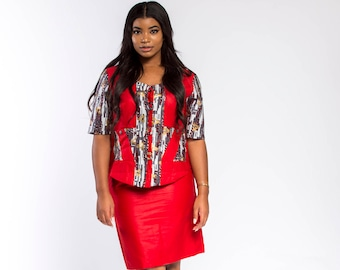 Red & Multicoloured Woodin Ankara African PrintSkirt Set