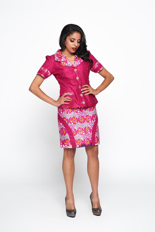 Rosa multicolor Woodin Ankara africana impresión traje