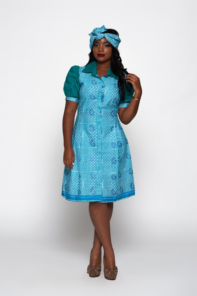 31510a69d77 Blue   Multicoloured Woodin Ankara African Print Shirt Dress