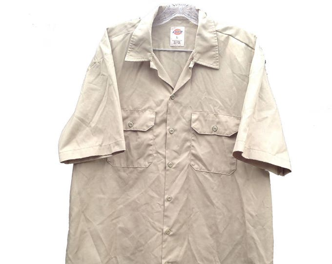 Large Dickies Industrial Work Shirt Khaki