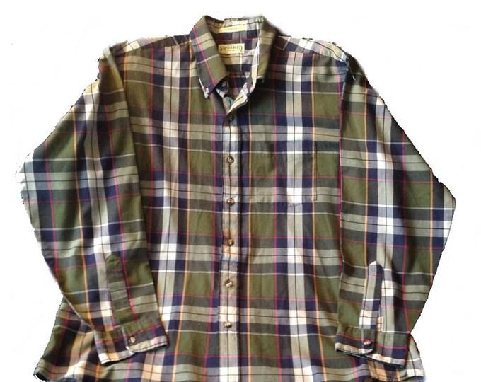 XL Saddlebred Madras Shirt Long Sleeve Made in USA
