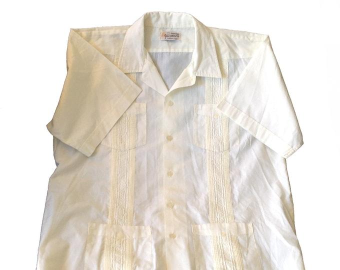 Men's XL Guayabera Yucateca '60s Dress Shirt