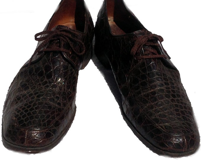 Size 9 Vintage Custom Made Alligator Shoes Mandarin Hotel Hong Kong