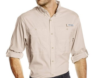 Men's Large Columbia PFG Tamiami™ II Long Sleeve Shirt Fossil