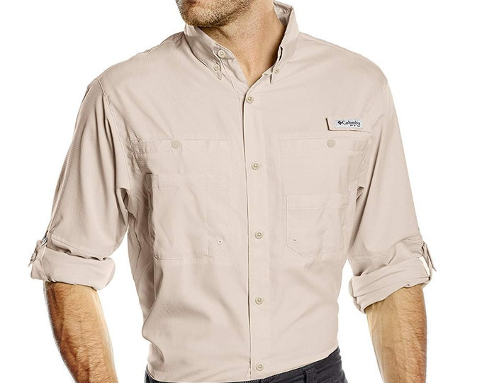 Men's Large Columbia PFG Tamiami™ II Long Sleeve Shirt Fossil