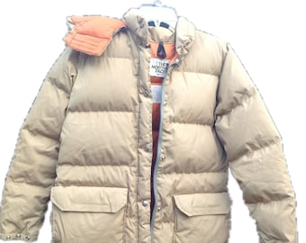 The North Face - Women's Brown Label   Vintage   1970's   Hooded Down Jacket   Camel/Orange   Goose down   Puffer jacket   Size L   Rare
