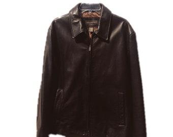 Large Banana Republic Dark Brown Leather Jacket
