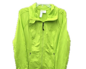Women's Large Halcyon Athletic Sport Neon Green Jacket