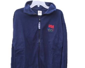 Medium Official Olympic Committee Full Zip Fleece Sweater