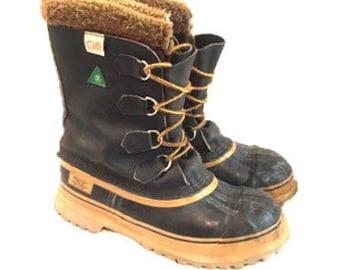 Men's Size 9.5 Kaufman Sorel Snow Winter Work Boots Wool Lining Steel Toe Waterproof Made In Canada