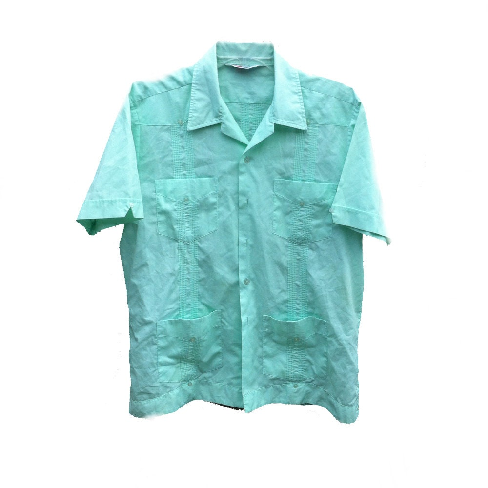 Large Mint Guayabera Romani Dress Shirt