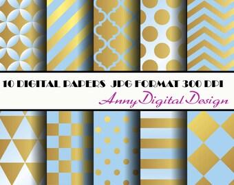 Gold Digital Paper, Blue Gold digital paper, Blue Gold, Gold Backgrounds Digital, gold glam dots stripes