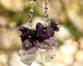 amethyst Jewelry amethyst earring Cluster earrings  birthstone Jewelry birthstone earring women earrings February birthstone stone Jewelry