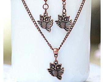 owl jewelry Copper owl earring owl necklace Everyday earrings Gift for her Summer earrings Trending earrings Everyday jewelry
