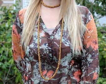 Beaded necklace double wrap necklace Boho necklace tribal necklace Wooden necklace Wood Bead necklace Wooden jewelry tribal jewelry