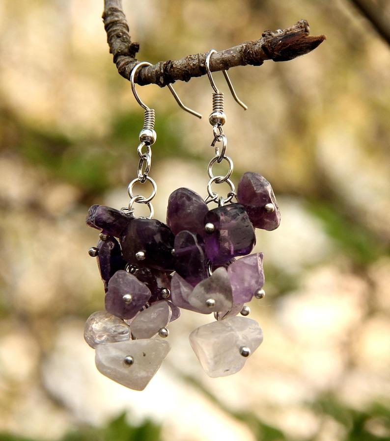 amethyst Jewelry amethyst earring Cluster earrings  birthstone image 0