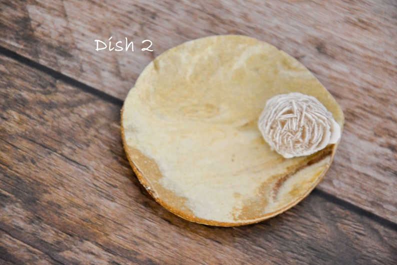 Ready to Ship Handmade Marbled Clay Ring Dish Desert Rose Selenite Crystal Ring Dish Natural Rustic Ceramic Trinket Dish