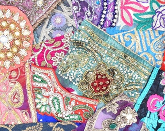 Deep Mix of Reclaimed Indian Sari Fabric Swatches Patches Decorative Borders Boho Embellishments Mystery Bundle