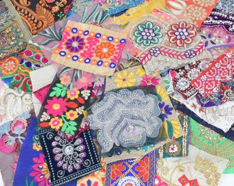 Variety Mix of Reclaimed Indian Sari Fabric Swatches Patches Decorative Borders Boho Embellishments Mystery Bundle