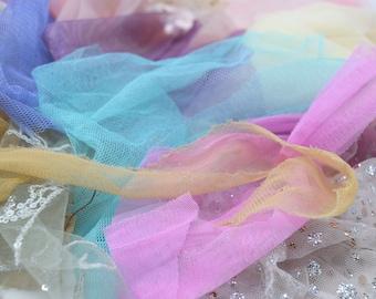 50g Neutral Pastel Colours Net Tulle Fabric Scrap Packs