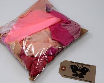 100/200g Light Pink Peach Floaty Bohemian Boho Indian Fabric Scrap Packs