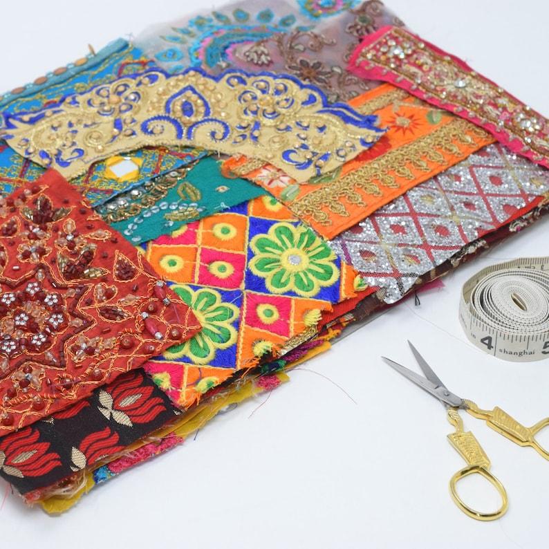 50 Embellished Embroidered Sparkly Patterned Metallic Indian image 0