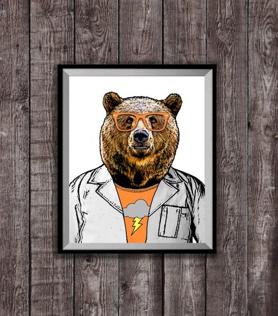 Hipster scientifique ours Estampe, affiche de 8 x 10 de Art Print, Bear Illustration, grizzli Hipster oeuvre decoration murale, cadeau d'anniversaire pour homme
