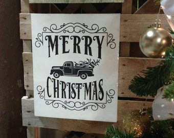 Merry Christmas Old Truck Sign, Merry Christmas Sign, Christmas Sign, Christmas Decor, Vintage Christmas Truck Sign, Christmas Decoration